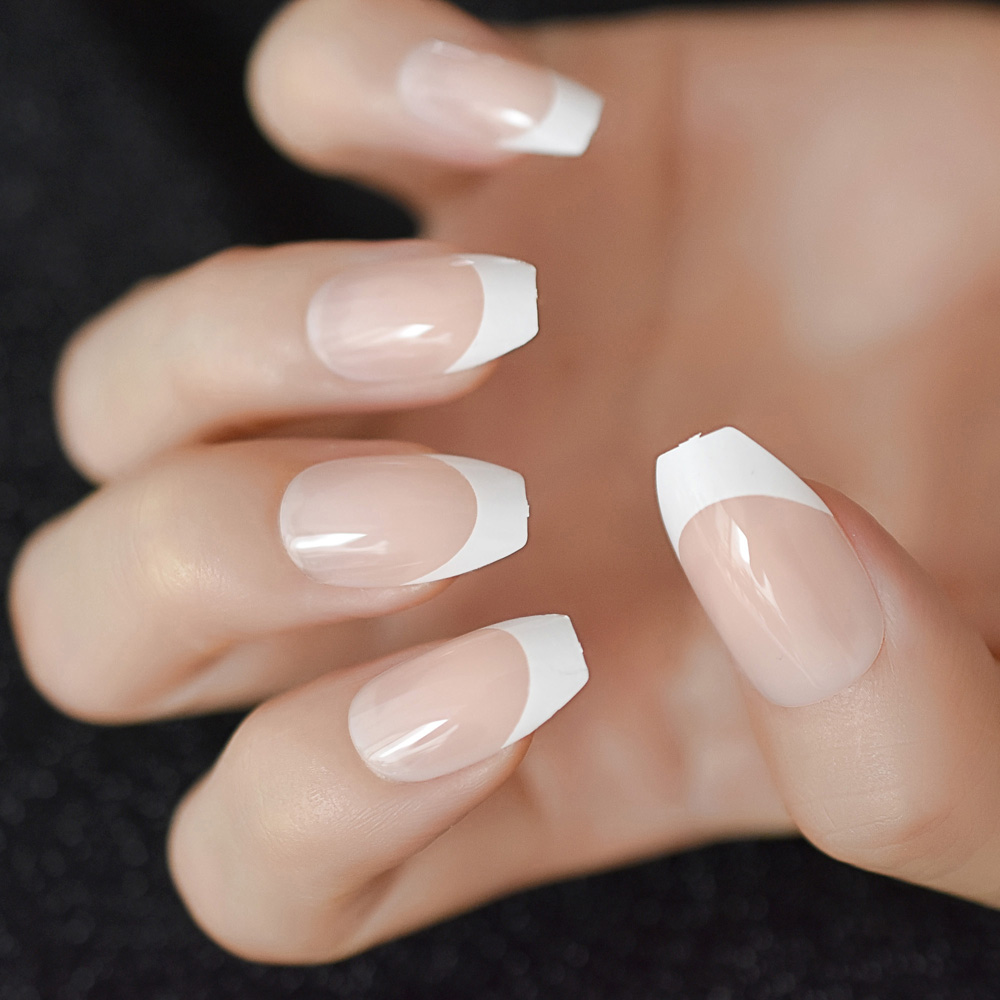 24pcs Coffin White Border Nature Artificial Nails French ...