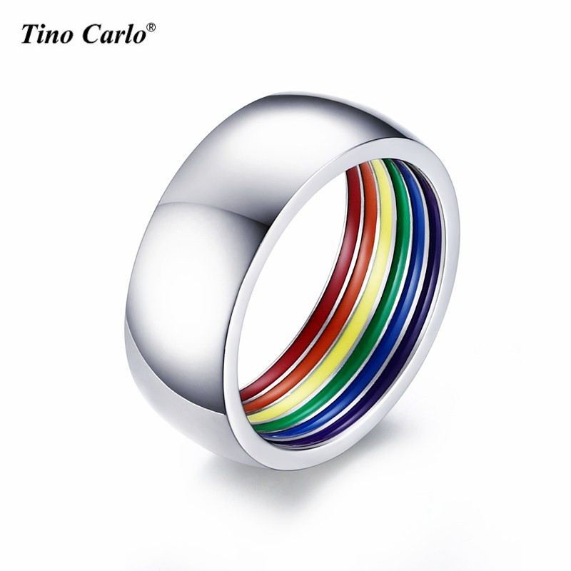 Polishing Inner Rainbow Plated Gay Ring 8MM Stainless Steel Gay Pride Parade Rings LGBT Accessory SIZE 7~12 PR-1023