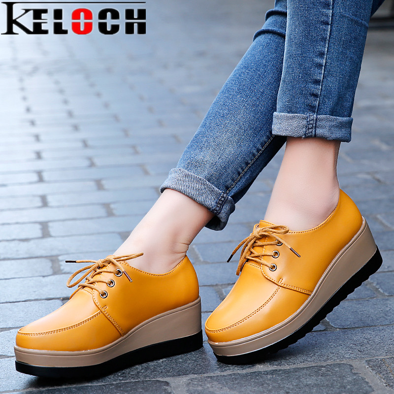 Keloch Women Flat Platform Shoes Lace up Moccasins Ladies Black White Oxford Creepers Ladies Casual Shoes 2017 Sapatos Femininos women harajuku cartoon lace up wedges platform shoes 2015 casual shoes trifle thick soled graffiti flat shoes ladies creepers