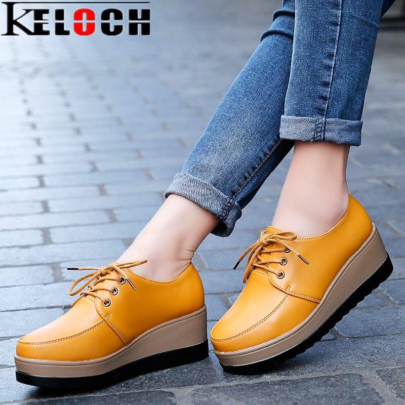 Keloch mujeres ladies negro blanco plana zapatos de plataforma lace up mocasines