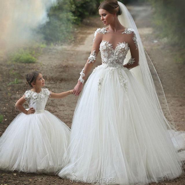Favoriete Trouwjurken 2017 Sheer Lange Mouwen Wit Tulle Prinses Bruidsjurken  EN51