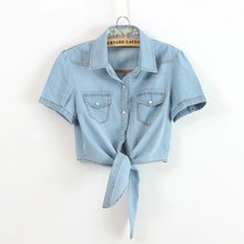 цена на Cotton Women Short Sleeve Blue Denim Shirt New 2017 Summer Fashion Ladies Jean Shirt With Chest Flap Pockets Butterfly Tie 1669