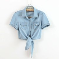 Cotton Women Short Sleeve Blue Denim Shirt New 2017 Summer Fashion Ladies Jean Shirt With Chest Flap Pockets Butterfly Tie 1669