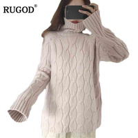 RUGOD Turtleneck Women Sweater Winter 2018 Female Pullover Fashionable Christmas Sweater Sueter Mujer
