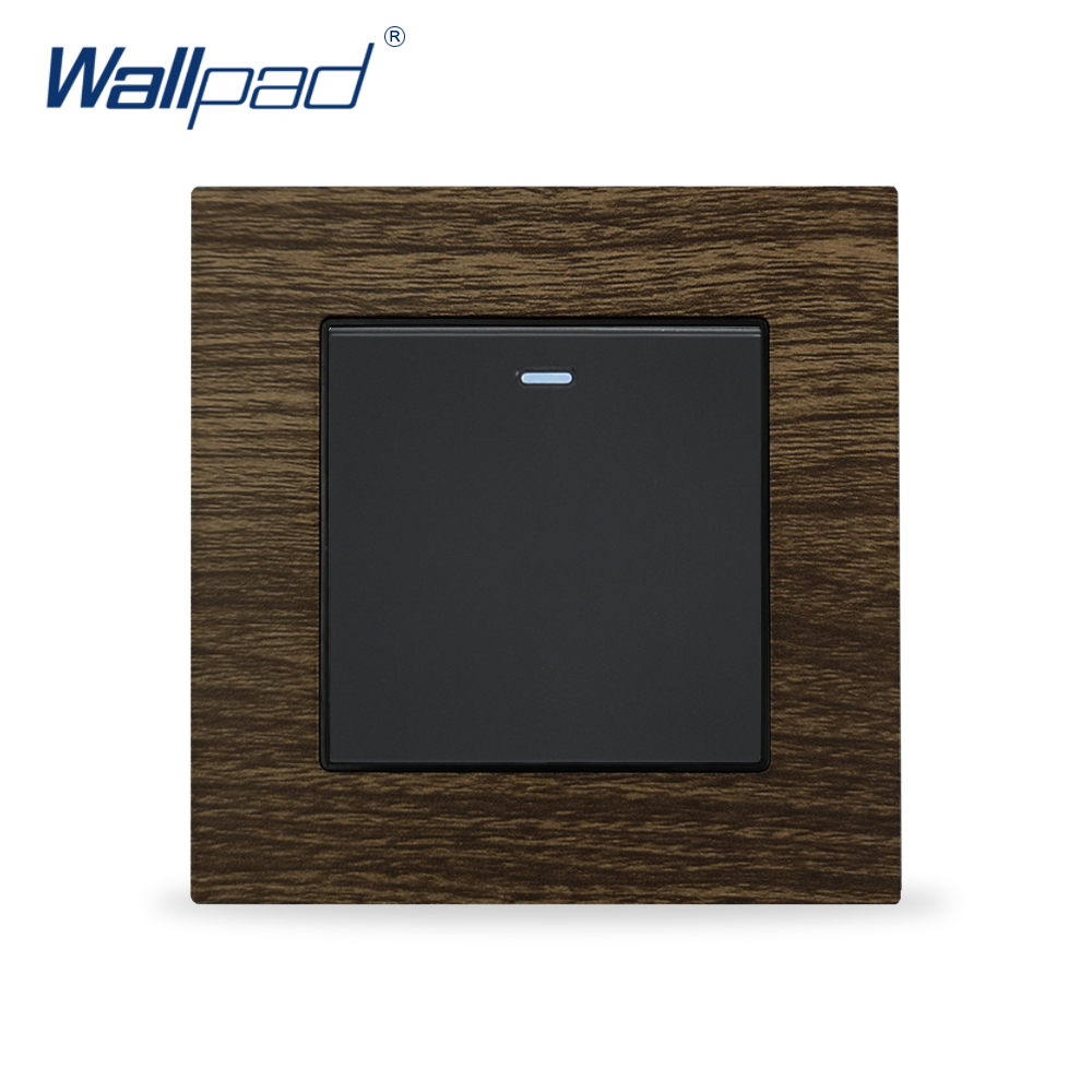 Wood 1 Gang 1 Way Wallpad Luxury Wall Light Switch Metal Panel Push Button Switches Interrupteur Switching Power SupplyWood 1 Gang 1 Way Wallpad Luxury Wall Light Switch Metal Panel Push Button Switches Interrupteur Switching Power Supply