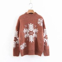 2019 Winter New Cashmere Sweater Women Knitted Sweater Christmas Snowflake Female Basic Thick Turtleneck Sweater Women Top