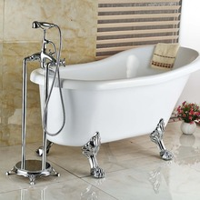 Chrome Finish Solid Brass Bath Tub Faucet w Handheld Shower Sprayer Floor Mount Tub Filler