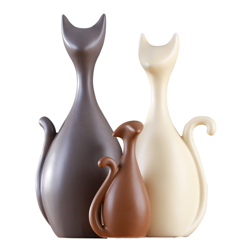Simple Modern Abstract Decoration Crafts Hotel Decor Cat Family High end Ceramic Ornaments Home Decoration Accessories Figurines in Figurines Miniatures from Home Garden