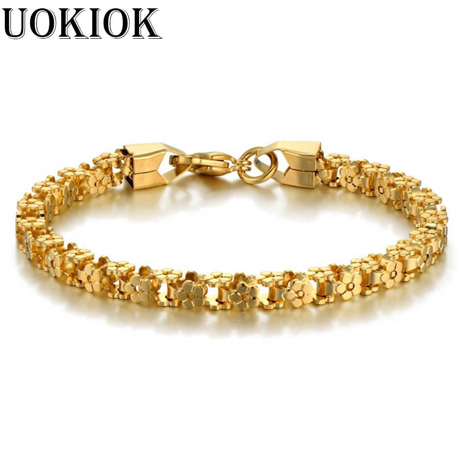 Bicycle Chain & Women Bracelet Silver Gold Color 316L Stainless Steel Bracelets & Bangles Female Accessory Hip Hop Party Vintage
