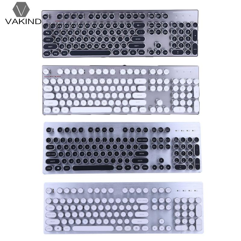 Retro Steam Punk Style Computer Teclado 104 Keys Gaming Mechanical Keyboard with 12 Backlight Typewriter Notebook Desktop PC
