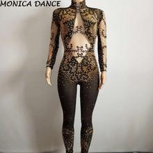 Черный сетчатый комбинезон с кристаллами, яркие серебряные стразы, боди с кисточками, женский роскошный костюм, прозрачный комбинезон