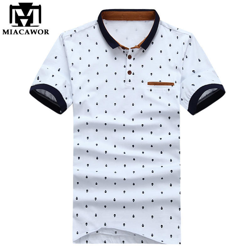 2019 New Men   Polo   shirts Fashion Skull Print Camisa Summer Cotton Short-sleeve Men Shirts Tops Tees MT4371