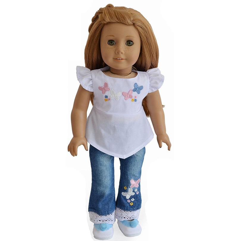 Embroider Flower Tops Jeans Doll Clothes For 18 American Girl Doll Handmade