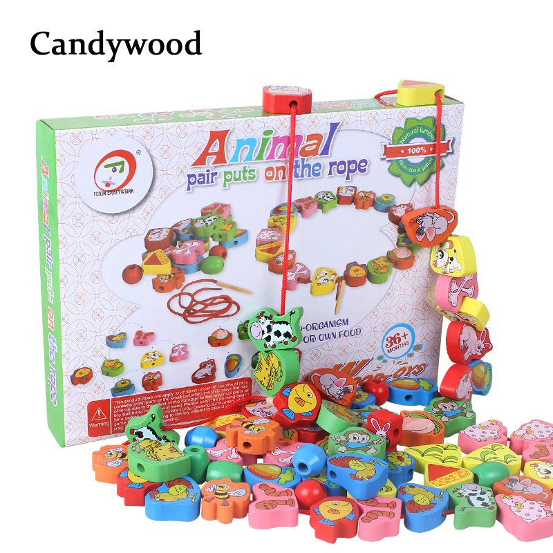 2018 New Kids Toy Beads Snap-Together Kid Wooden Toys Animal blocks DIY Beads Creature Blocks Early Education Toys for Boy Girls 2017 new arrival baby montessori toys wooden rainbow balance blocks toy colorful beads seesaw early education childrens day gift