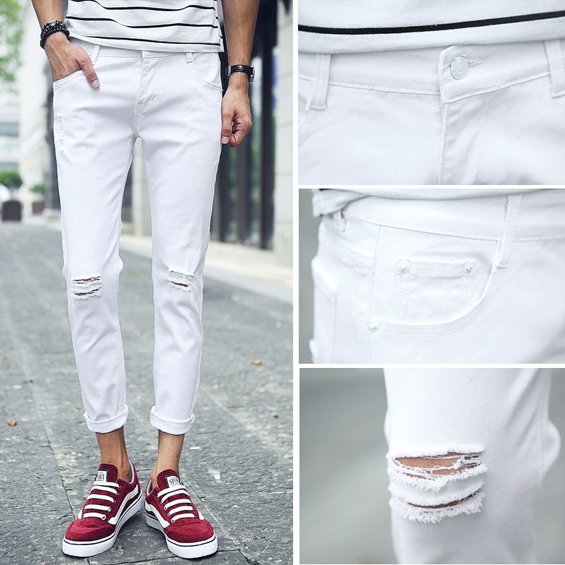 2017 spring summer youth nine cents jeans male Slim Korean version of the hole elastic students 9 points feet pants couple pants the rise of nine