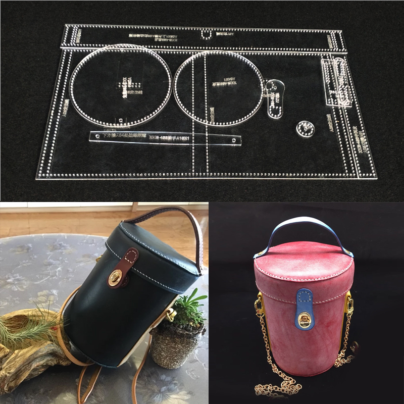 Acrylic Stencil Leather Handmade Craft Water bottle bag Sewing Pattern Template Sewing accessories with holes 12.5x18cm
