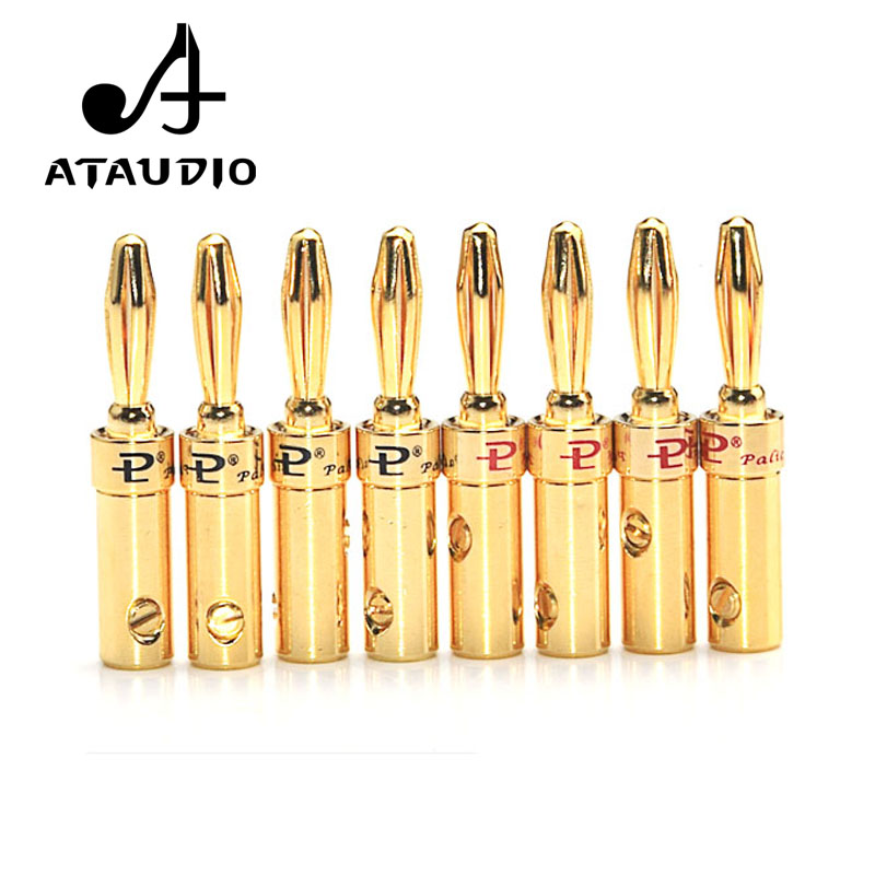 8 PCS ATAUDIO Gold-plated Speaker Banana Plug DIY HiFi Banana Jack Audio Cable Connectors 4mm