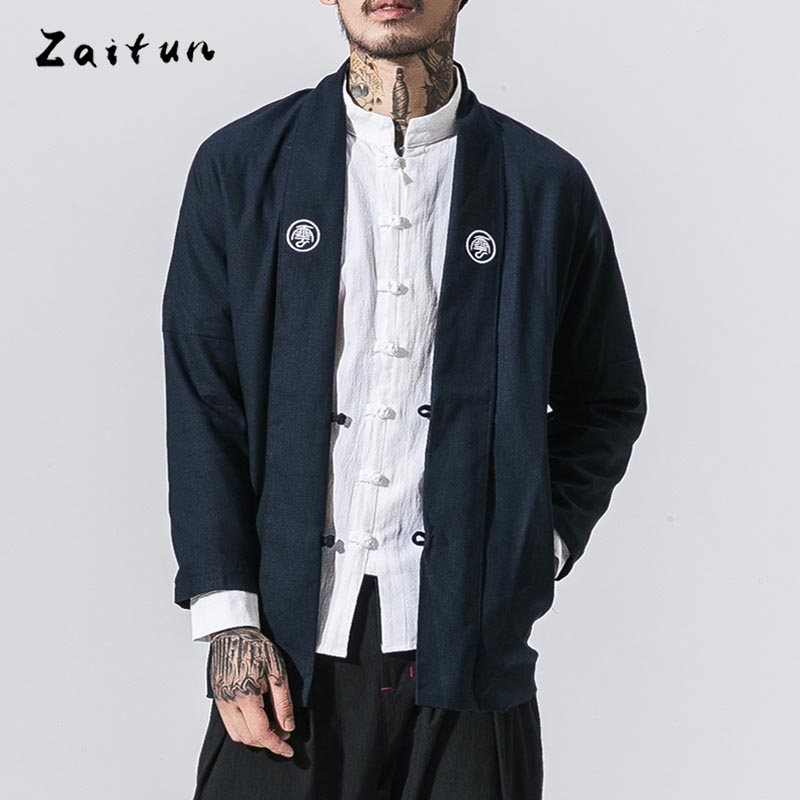 ZAITUN Autumn Winter New Men Jackets Long Style Chinese Tradtional Writing Embroidery Slim Fit Windproof Casual Brand Coats