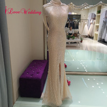iLoveWedding Elegant Evening Dress Long Champagne Mermaid