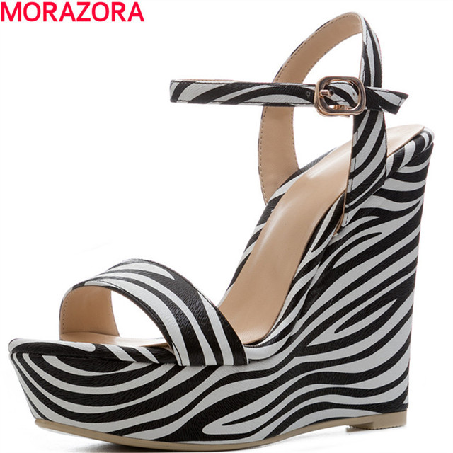f022a6f3c4a263 MORAZORA hot summer new women fashion Zebra pattern high heels sandals peep  toe wedges shoes party