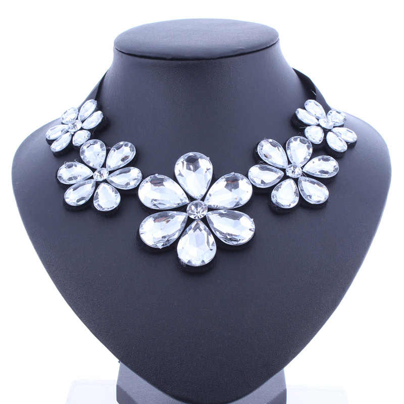 Btuamb Penjualan Panas Air Besar Berlian Imitasi Bunga Kalung Maxi Drop Pita Rantai Kalung Liontin untuk Wanita Partai Perhiasan Bijoux