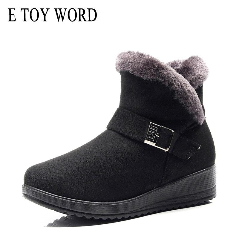 E TOY WORD Women Winter Boots flock Wedge Platform winter Warm Red Black Snow Plush Cotton Shoes Plus Size 42