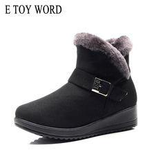 E TOY WORD Women Winter Boots flock Wedge Platform winter Warm Red Black Snow Plush Cotton Shoes Plus Size 42