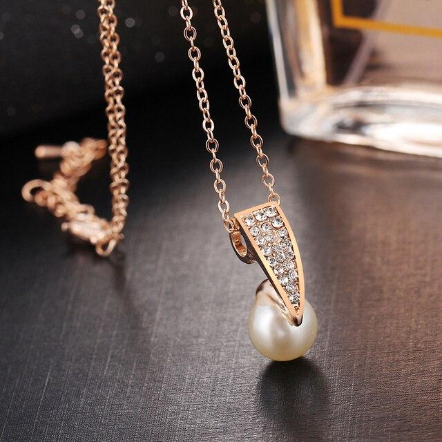 17KM Fashion Imitation Pearl Rhinestone Gold Color Necklace Sets for Women Bridal Wedding  Jewelry Sets 4