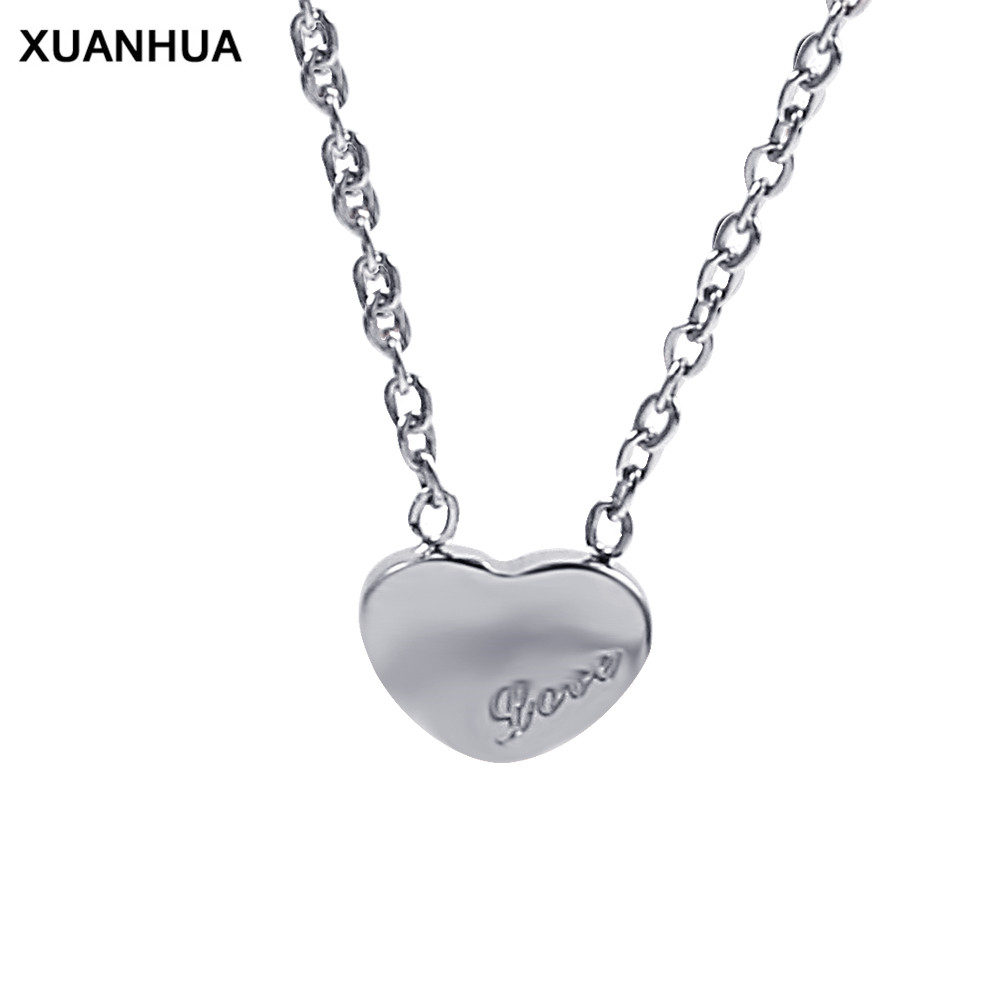 XUANHUA necklaces & pendants choker jewellery chocker heart pendant stainless steel chain bijoux women's clothing & accessories