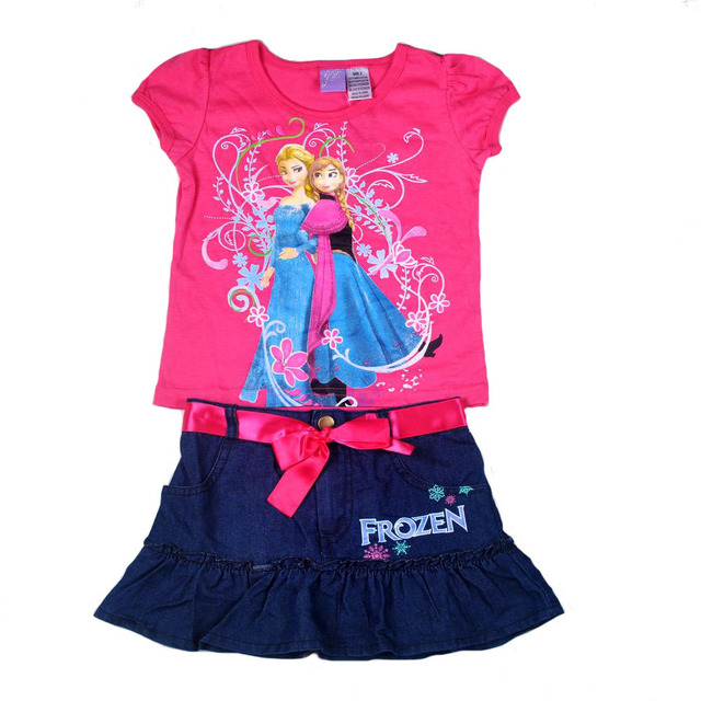 oringal brand 6sets/lot elsa long sleeved T shirt and Mesh TuTu Skirt 2-piece Set for 2-8T for Baby Girls,Elsa clothing set NO.2