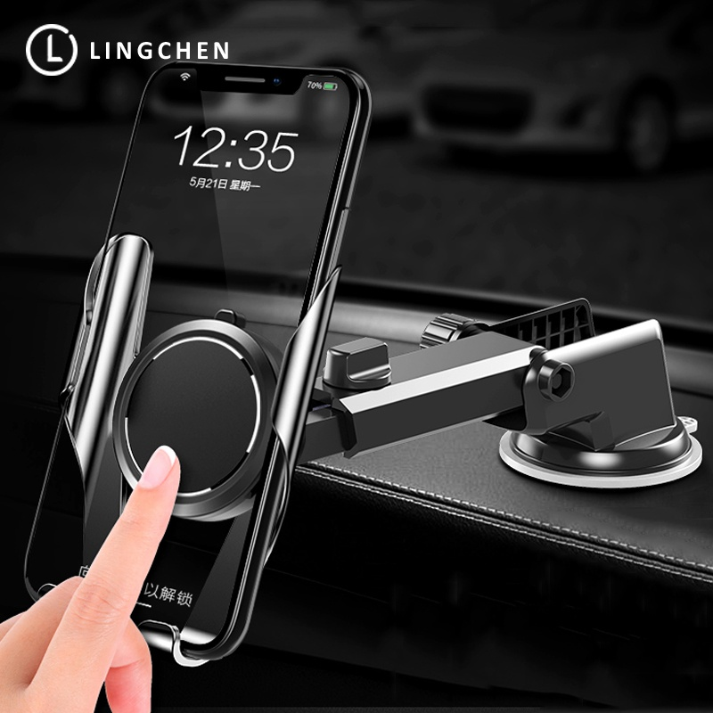 LINGCHEN Car Phone Holder For IPhone X XS MAX 8 7 Plus XIAOMI Windshield Car Mount Phone Stand Car Holder For Samsung S9 S8
