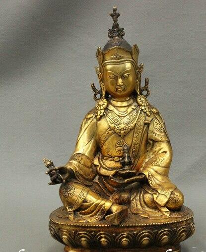 Tibet Buddhism Bronze Gilt Seat Lotus Guru Rinpoche Padmasambhava Buddha Statue
