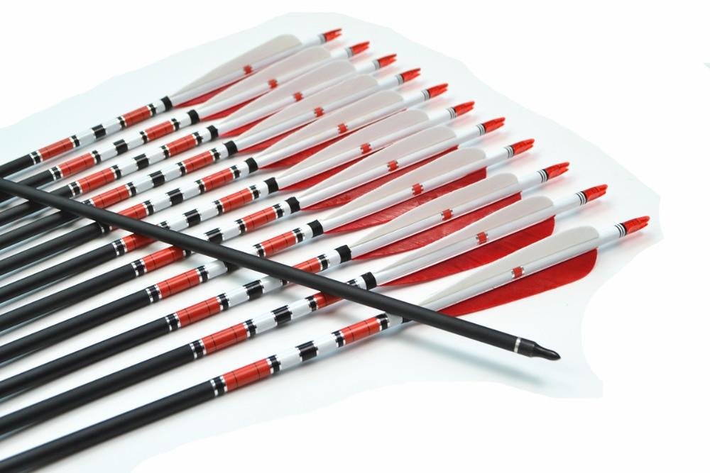 12pcs lot Archery Mix Carbon Arrows 31 5 Spine 500 O D 8mm Turkeys Feather Target