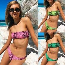 Bikini 2019 Swimwear Women Bandeau Bandage Bikini Padded Pu Leopard Print Bikini Set Brazilian Swimwear Beachwear Swimsuit leaf print bandeau bikini set