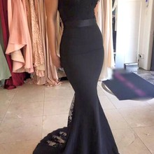 7c263e3bf495 2019 Long Mermaid Bridesmaid Dresses Black Off the Shoulder Lace Appliques  Women Country Formal Wedding Party