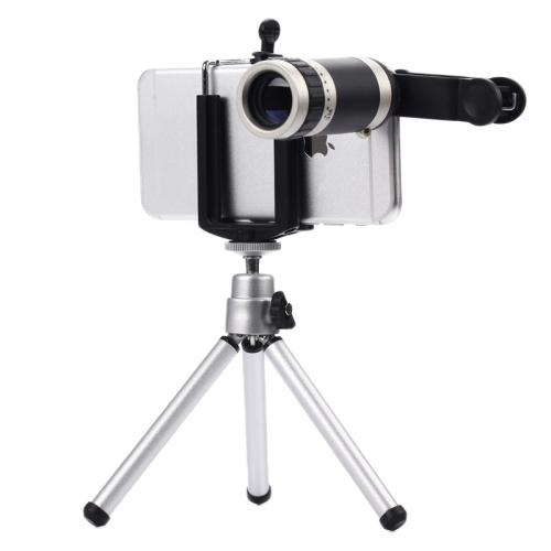 Universal 8X Zoom Lente Lentes de la Lente Del Teléfono Celular Móvil con escritorio trípode para iphone 6 5 5c 5s samsung digital delgada cámara