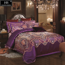 Duvet Cover Queen King Size 4Pcs Bedding Set Gift Box Purple Rose Gold Grey Jacquard  Peacock Peony Bedroom Baroque Paisley