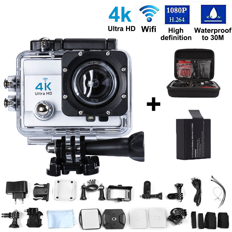 "Action Camera 4K Ultra WIFI Sport Camera16MP 170 Wide Angle Lens 2.0"" LCD 16MP Diving Video Waterproof Cam+2Battery+bag"