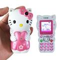 Bar desbloqueado pequeño de dibujos animados energía móvil Dual SIM tarjeta de la mujer niños niñas dama lindo mini teléfono móvil celular hellokitty luz P189