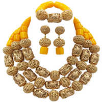 Fashion Yellow Artificial Coral Beaded Jewelry Set African Beads Wedding Necklace Nigerian Bridal Jewelry Sets FSH 019