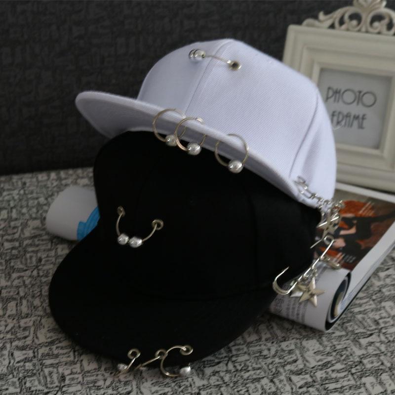 2018 Noir En Métal Anneau De Fer Casquettes de Baseball garçons filles casquettes Snapback chapeaux Rock Style Chaîne Hip Hop Bouchon Ombre Chapeaux pour hommes chapeaux