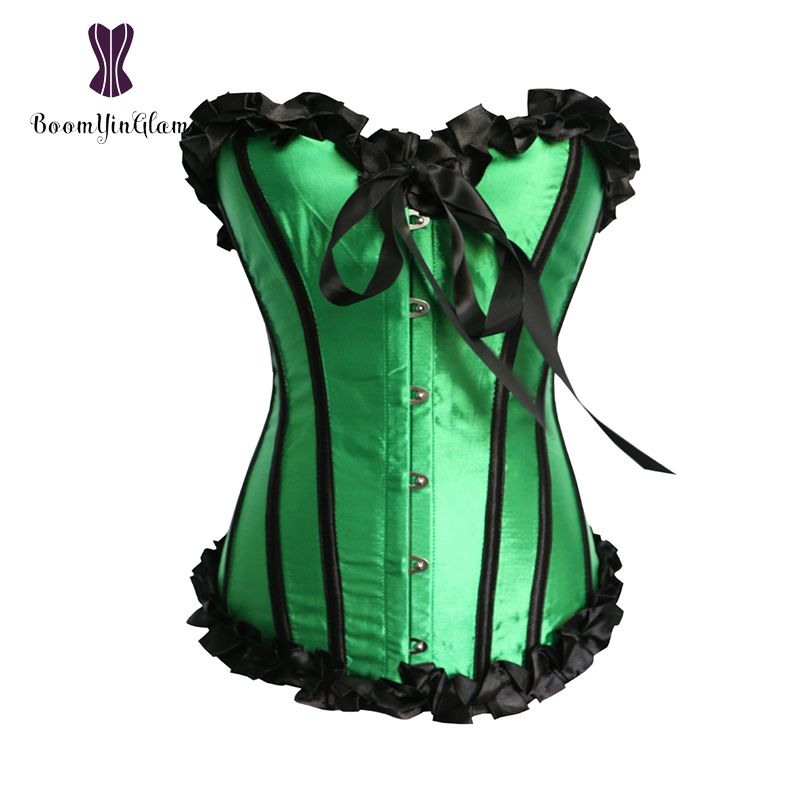 Free shipping ruffled top women lingerie   bustiers   slimming body shaper satin shapewear pleated   corset   with g string 896#