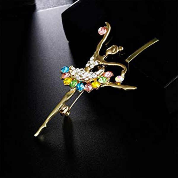 Mode strass fleur broche bijoux-broche pour mariage soirée fête-fête vêtements accessoire ballerine fille