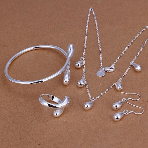 925 Sterling Silver Premium Jewelery Water Drop Earrings Jewelry Bracelet Necklace Bracelet Ring Mens Love Places Gifts