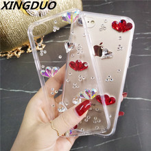 XINGDUO case Fashion Bling Crystal Rhinestone Soft Clear Case Cover Transparent shell For iphone X XS XR MAX 6 7 8 Plus