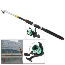 2.4m Fishing Rod Reel Line Combo Full Kits Spinning Pole Set with Carp Lure Float Hooks Beads Bell Lead Weight Etc