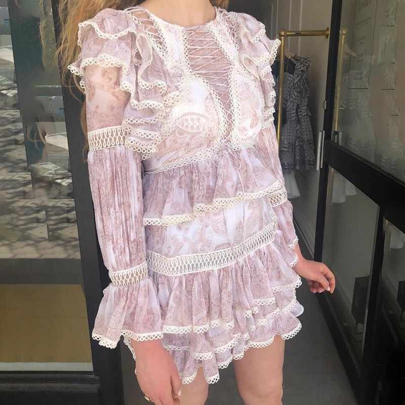 TWOTWINSTYLE, женское платье с принтом, с высокой талией, с круглым вырезом, с оборками, с рукавами-воланами, мини-платья для женщин, весна 2019, модная новинка
