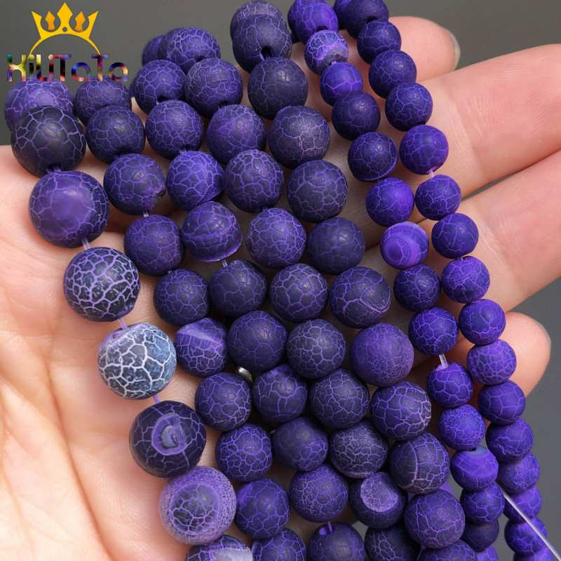 Natural Stone Beads Frost Purple Cracked Dream Fire Dragon Veins Agates Onyx Beads For Jewelry Making DIY Bracelet 15'' 6/8/10mm