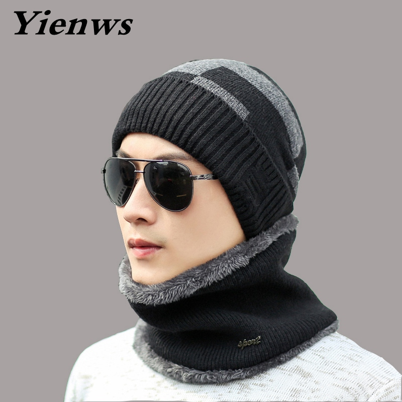 Yienws Men Hats And Caps Knit Ski Hat Warmer Autumn Winter Hats For Men Skullies Beanies Neck Warmer Knitted Scarf Cap YIC573 autumn and winter letter hat skullies beanies wool knitted hats for women ski cap men sport acrylic hat rx120