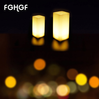 12 Adet Partileri Ev Dekorasyon Sarı Baz Titrek LED Kare Çay Işıkları Plastik Pil İşlet Barlar Mumlar tatil